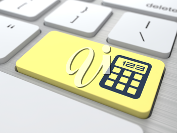 Calculator on the yellow, computer button. The Concept of Management