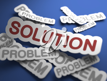 Solution Text on Blue Background with Selective Focus. 3D Render. Business Concept.