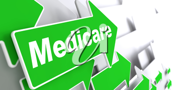 Medicare - Medical Concept. Green Arrow with Medicare Slogan on a Grey Background. 3D Render.