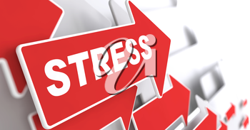 Stress. Social Concept. Red Arrow with Stress Slogan on a Grey Background. 3D Render.