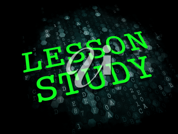 Lesson Study - Education Concept. The Word in Light Green Color on Dark Digital Background.