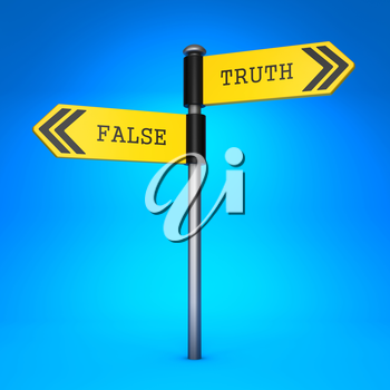 Yellow Two-Way Direction Sign with the Words False and Truth on Blue Background. Concept of Choice.