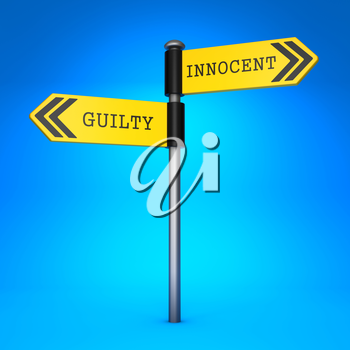 Yellow Two-Way Direction Sign with the Words Innocent and Guilty on Blue Background. Concept of Choice.