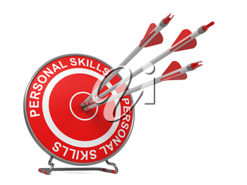 Personal Skills - Business Concept. Three Arrows Hitting the Center of a Red Target, where is Written Personal Skills.