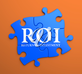 ROI - Return Of Investment - Written on Blue Puzzle Pieces on Orange Background. Business Concept.