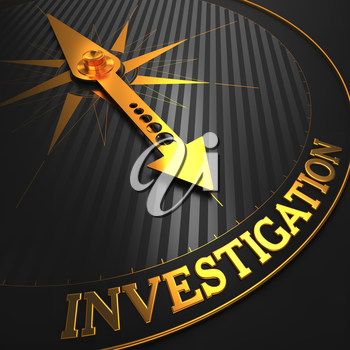 Investigation - Business Background. Golden Compass Needle on a Black Field Pointing to the Word Investigation. 3D Render.