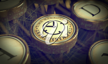 Time Management Button on Old Typewriter. Business Concept. Grunge Background for Your Publications.