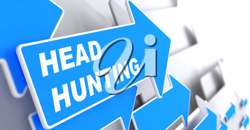 Headhunting - Business Background. Blue Arrow with Headhunting Slogan on a Grey Background. 3D Render.