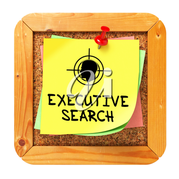 Executive Search, Yellow Sticker on Cork Bulletin or Message Board. Business Concept. 3D Render.