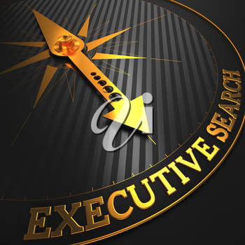 Executive Search - Business Concept. Golden Compass Needle on a Black Field Pointing to the Word Executive Search. 3D Render.