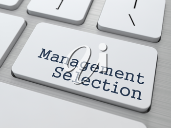 Management Selection. Button on Modern Computer Keyboard. Business Concept. 3D Render.