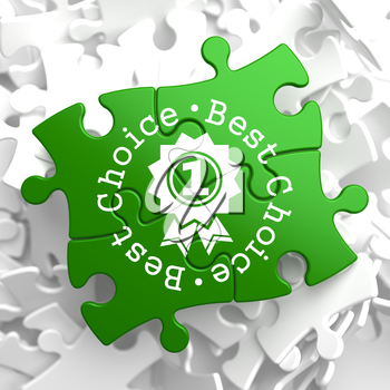 Best Choice Written Arround Icon of Award on Green Puzzle Pieces. Business Concept.
