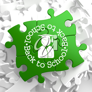 Back to School Written Arround Icon of Human Silhouette in Grad Hat on Green Puzzle Pieces. Education Concept.