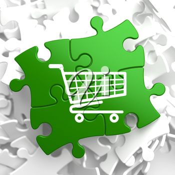 Icon of Shopping Cart on Green Puzzle.