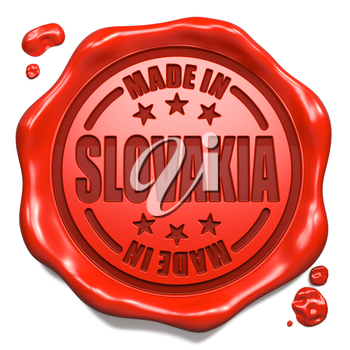 Made in Slovakia - Stamp on Red Wax Seal Isolated on White. Business Concept. 3D Render.