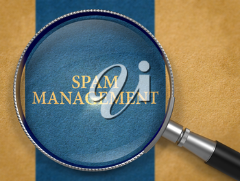 Spam Management through Loupe on Old Paper with Dark Blue Vertical Line Background. 3d Render.
