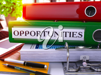 Opportunities - Green Office Folder on Background of Working Table with Stationery and Laptop. Opportunities Business Concept on Blurred Background. Opportunities Toned Image. 3D