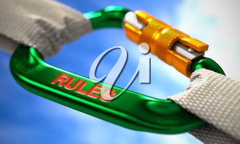 Green Carabine with White Ropes on Sky Background, Symbolizing the Rules. Selective Focus. 3d Render.