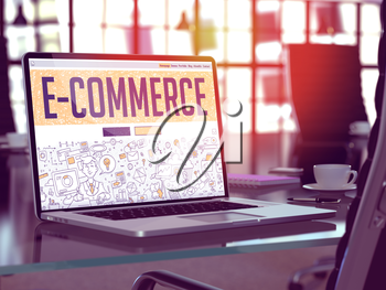 E-Commerce - Closeup Landing Page in Doodle Design Style on Laptop Screen. On Background of Comfortable Working Place in Modern Office. Toned, Blurred Image. 3d Render.