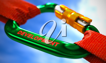 Green Carabine with Red Ropes on Sky Background, Symbolizing the Development. Selective Focus. 3d Render.