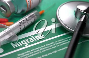 Diagnosis - Migraine. Medical Concept on Green Background with Blurred Text and Composition of Pills, Syringe and Stethoscope. Selective Focus. 3d Render.