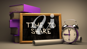 Hand Drawn Time to Share Concept  on Chalkboard. Blurred Background. Toned Image. 3d Render.