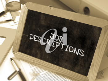 Hand Drawn Job Descriptions Concept  on Chalkboard. Blurred Background. Toned Image. 3d Render.