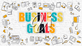 Multicolor Concept - Business Goals - on White Brick Wall with Doodle Icons Around. Modern Illustration with Doodle Design Style.