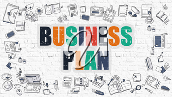 Business Plan - Multicolor Concept with Doodle Icons Around on White Brick Wall Background. Modern Illustration with Elements of Doodle Design Style.