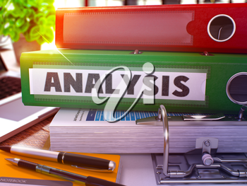 Green Ring Binder with Inscription Analysis on Background of Working Table with Office Supplies and Laptop. Analysis - Toned Illustration. Analysis Business Concept on Blurred Background. 3D Render.