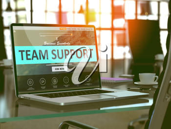 Team Support Concept - Closeup on Laptop Screen in Modern Office Workplace. Toned Image with Selective Focus. 3D Render.