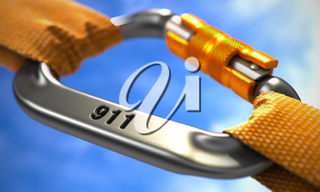 Strong Connection between Chrome Carabiner and Two Orange Ropes Symbolizing the 911. Selective Focus. 3D Render.