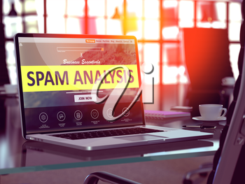 Spam Analysis Concept - Closeup on Laptop Screen in Modern Office Workplace. Toned Image with Selective Focus. 3D Render.