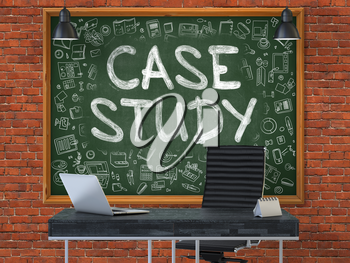 Hand Drawn Case Study on Green Chalkboard. Modern Office Interior. Red Brick Wall Background. Business Concept with Doodle Style Elements. 3D.