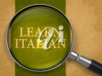 Learn Italian Concept through Magnifier on Old Paper with Dark Green Vertical Line Background. 3D Render.