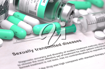Sexually Transmitted Diseases - Medical Concept with Light Green Pills, Injections and Syringe. Selective Focus. Blurred Background. 3D Render.