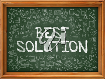 Best Solution - Handwritten Inscription by Chalk on Green Chalkboard with Doodle Icons Around. Modern Style with Doodle Design Icons. Best Solution on Background of  Green Chalkboard with Wood Border.