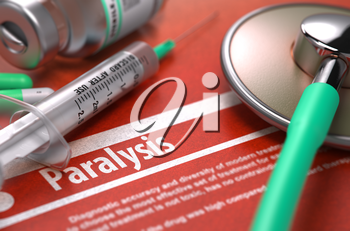 Paralysis - Printed Diagnosis on Orange Background with Blurred Text and Composition of Pills, Syringe and Stethoscope. Medical Concept. Selective Focus. 3D Render.