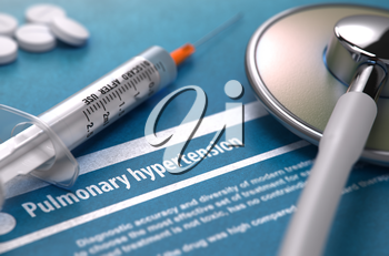 Diagnosis - Pulmonary hypertension. Medical Concept with Blurred Text, Stethoscope, Pills and Syringe on Blue Background. Selective Focus. 3D Render.