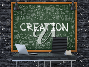 Green Chalkboard with the Text Creation Hangs on the Dark Brick Wall in the Interior of a Modern Office. Illustration with Doodle Style Elements. 3D.