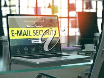 E-Mail Security Concept - Closeup on Laptop Screen in Modern Office Workplace. Toned Image with Selective Focus. 3D Render.