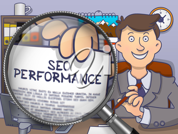 Seo Performance on Paper in Businessman's Hand through Magnifying Glass to Illustrate a Business Concept. Multicolor Doodle Illustration.