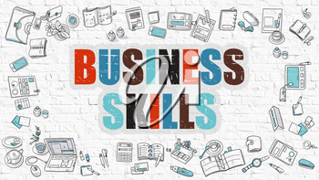Business Skills Concept. Business Skills Drawn on White Wall. Business Skills in Multicolor. Modern Style Illustration. Doodle Design Style of Business Skills.