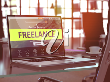 Freelance Concept Closeup on Laptop Screen in Modern Office Workplace. Toned Image with Selective Focus. 3D Render.