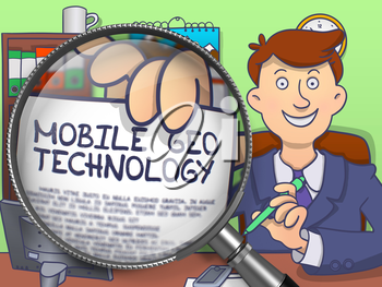 Mobile Geo Technology on Paper in Businessman's Hand through Magnifier to Illustrate a Business Concept. Colored Modern Line Illustration in Doodle Style.