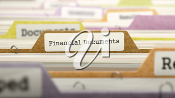 Folder in Colored Catalog Marked as Financial Documents Closeup View. Selective Focus. 3D Render.