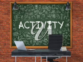 Green Chalkboard with the Text Activity Hangs on the Red Brick Wall in the Interior of a Modern Office. Illustration with Doodle Style Elements. 3D.