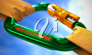 Strong Connection between Green Carabiner and Two Orange Ropes Symbolizing the New Adventure. Selective Focus. 3D Render.