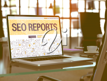 SEO - Search Engine Optimization - Reports - Closeup Landing Page in Doodle Design Style on Laptop Screen. On Background of Comfortable Working Place in Modern Office. Toned, Blurred Image. 3D Render.