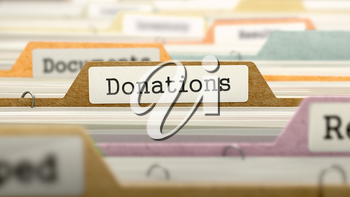 Donations on Business Folder in Multicolor Card Index. Closeup View. Blurred Image. 3D Render.